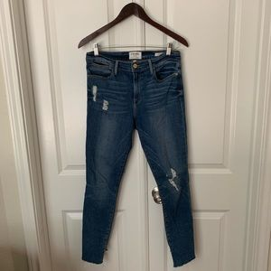 Frame le high skinny crop distressed jeans